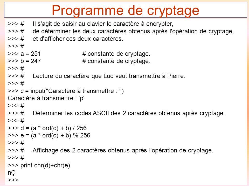 Programme de cryptage >>> # Il s agit de saisir au clavier le caractère à encrypter,