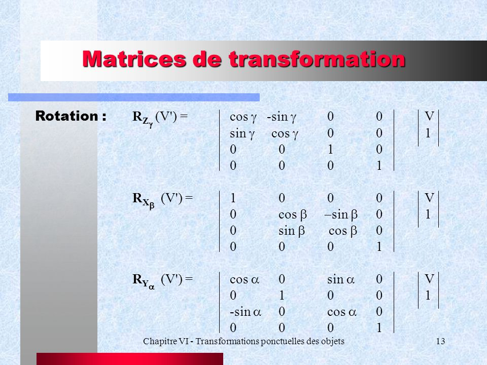 Matrices de transformation