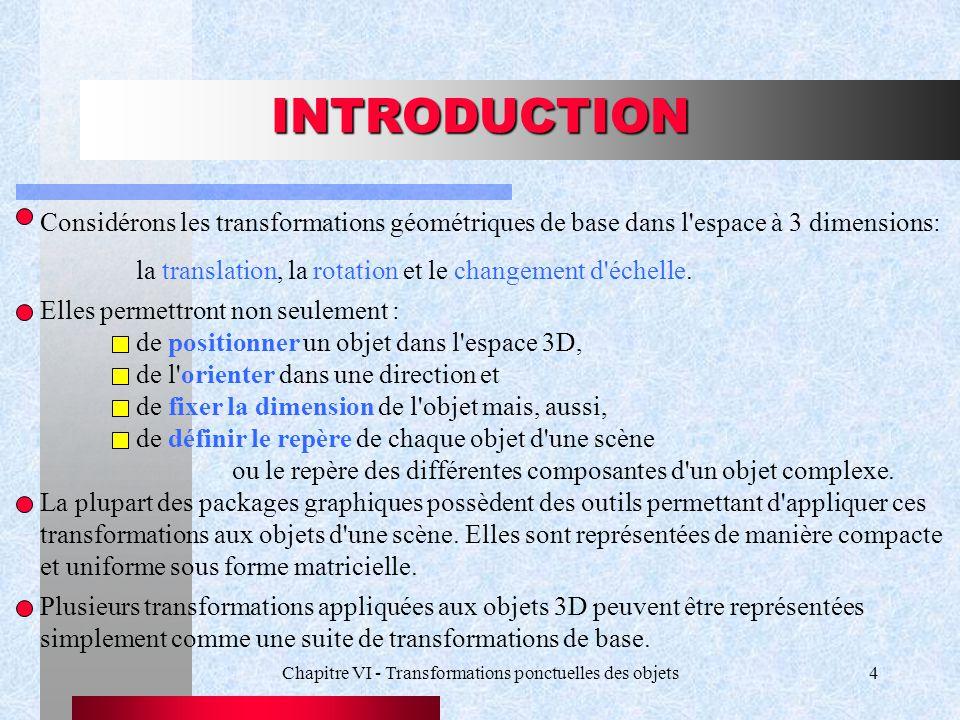 Chapitre VI - Transformations ponctuelles des objets