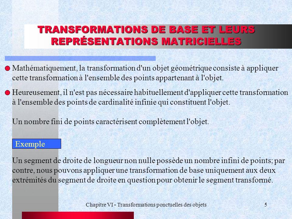 TRANSFORMATIONS DE BASE ET LEURS REPRÉSENTATIONS MATRICIELLES