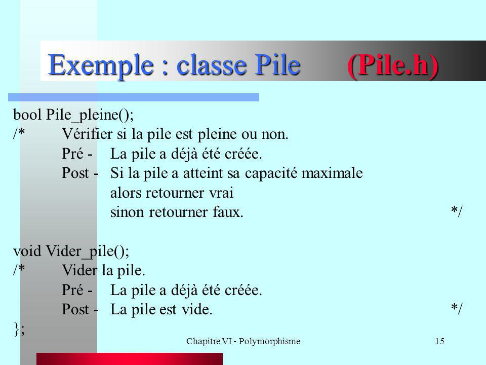 Exemple : classe Pile (Pile.h)