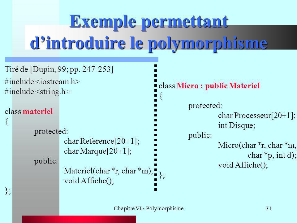 Exemple permettant d'introduire le polymorphisme