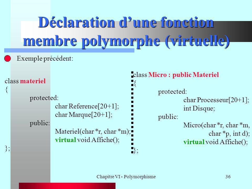 Déclaration d'une fonction membre polymorphe (virtuelle)