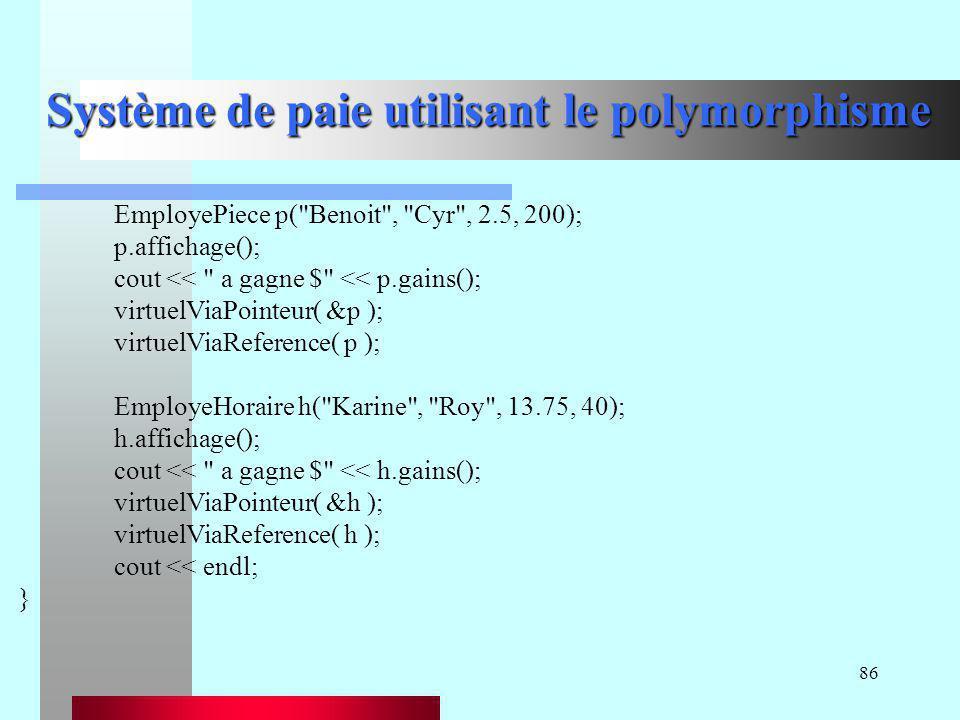 Système de paie utilisant le polymorphisme