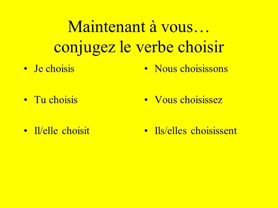 Maintenant à vous… conjugez le verbe choisir