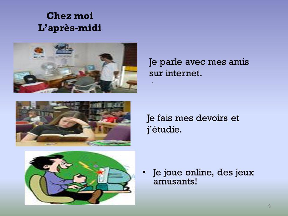 Chez moi L'après-midi Je parle avec mes amis sur internet.