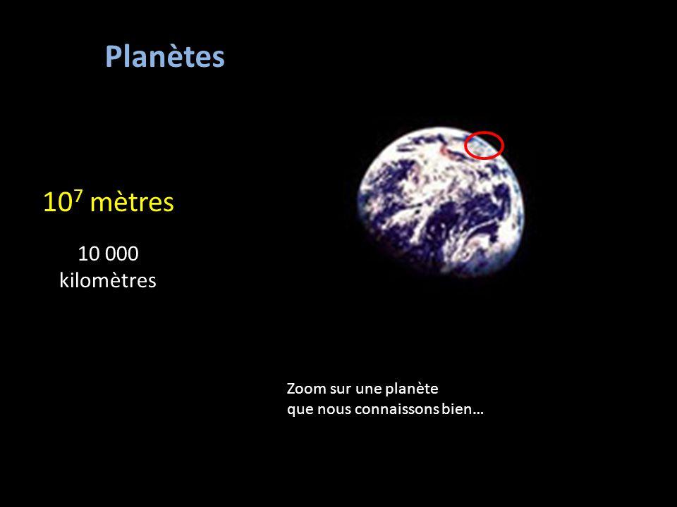 Planètes 107 mètres 10 000 kilomètres