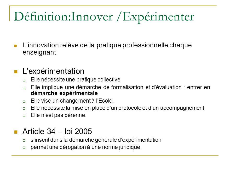 Définition:Innover /Expérimenter