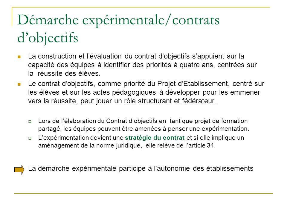 Démarche expérimentale/contrats d'objectifs