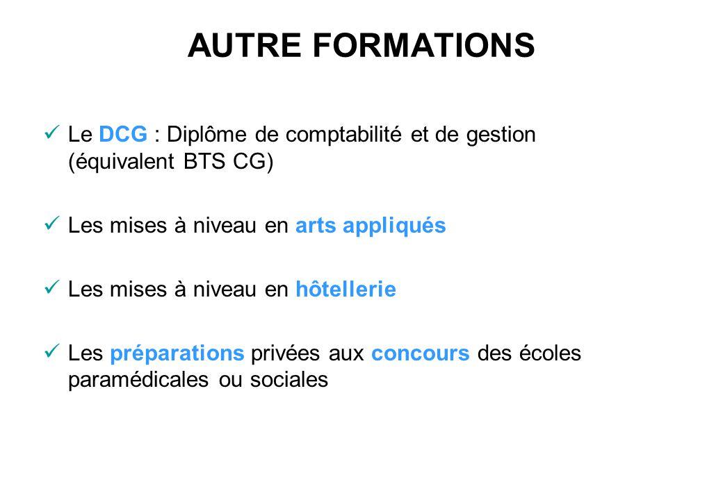 AUTRE FORMATIONS Le DCG : Diplôme de comptabilité et de gestion (équivalent BTS CG) Les mises à niveau en arts appliqués.
