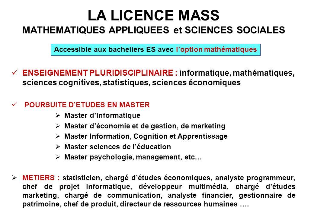 LA LICENCE MASS MATHEMATIQUES APPLIQUEES et SCIENCES SOCIALES