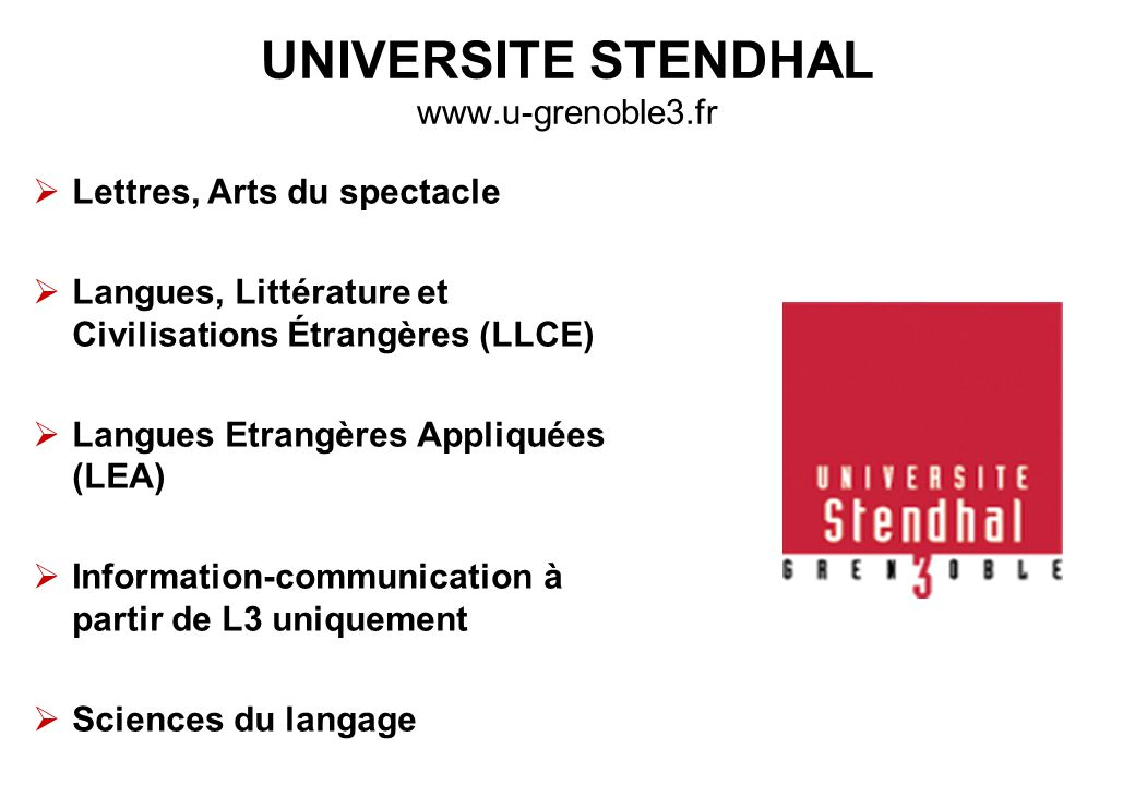UNIVERSITE STENDHAL www.u-grenoble3.fr
