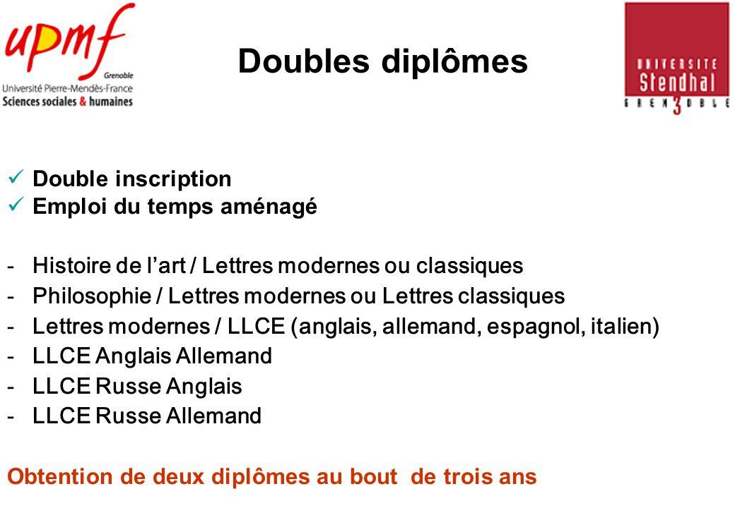 Doubles diplômes Double inscription Emploi du temps aménagé