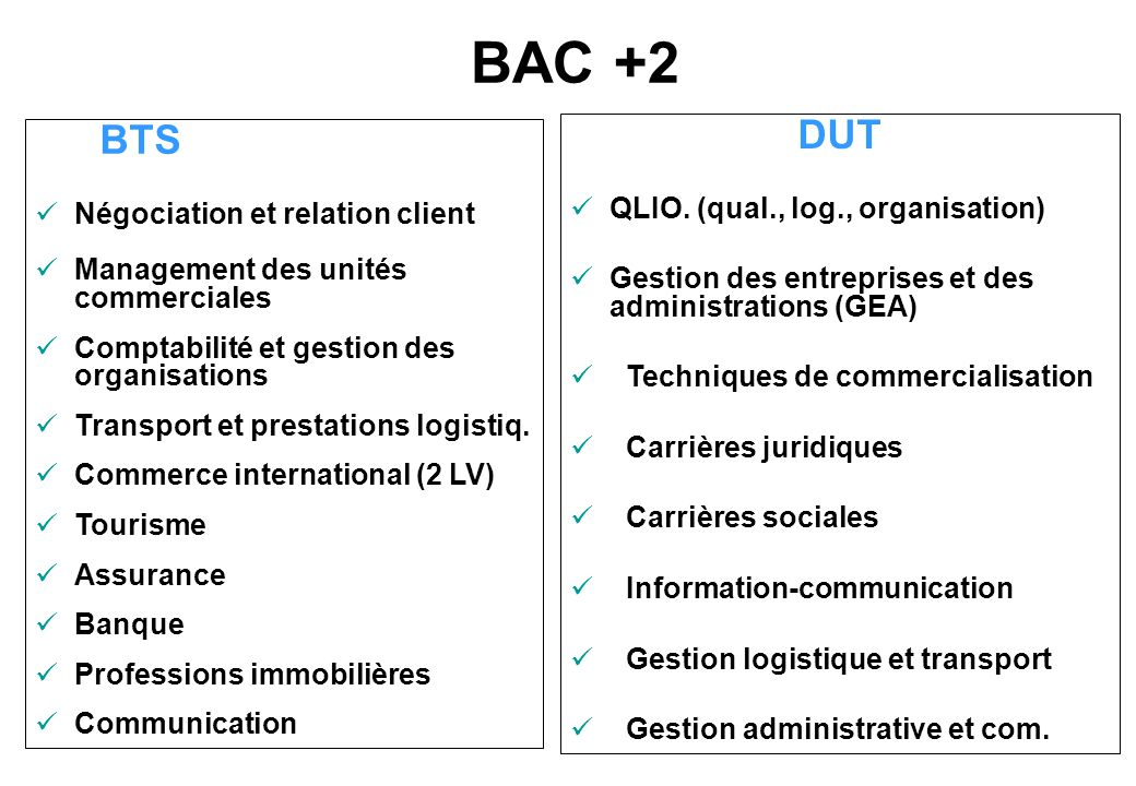 BAC +2 DUT QLIO. (qual., log., organisation)