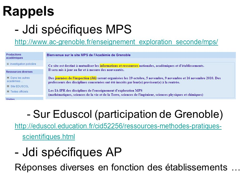 Rappels Jdi spécifiques MPS Jdi spécifiques AP
