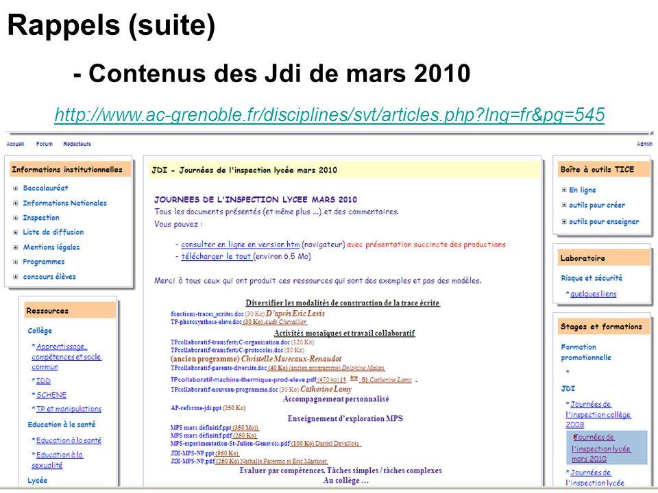 Rappels (suite) - Contenus des Jdi de mars 2010