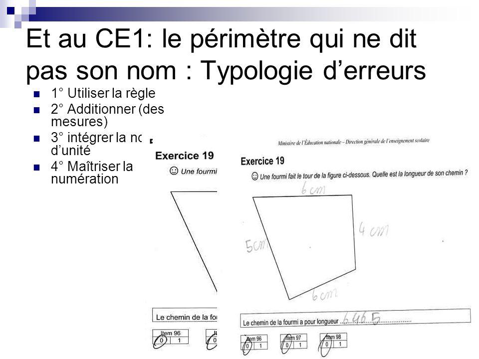 Et au CE1: le périmètre qui ne dit pas son nom : Typologie d'erreurs