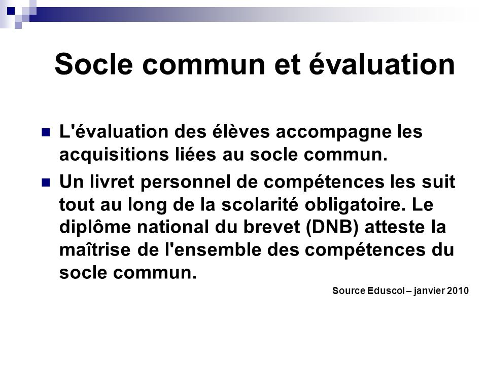 Socle commun et évaluation
