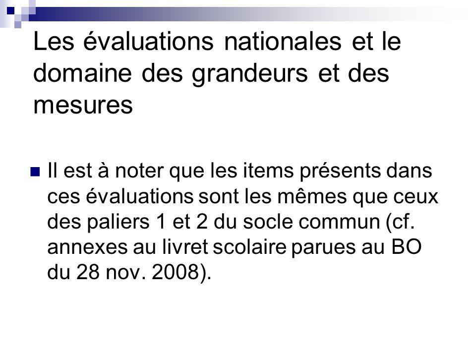 Les évaluations nationales et le domaine des grandeurs et des mesures