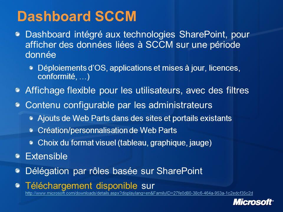 Dashboard SCCM Dashboard intégré aux technologies SharePoint, pour afficher des données liées à SCCM sur une période donnée.