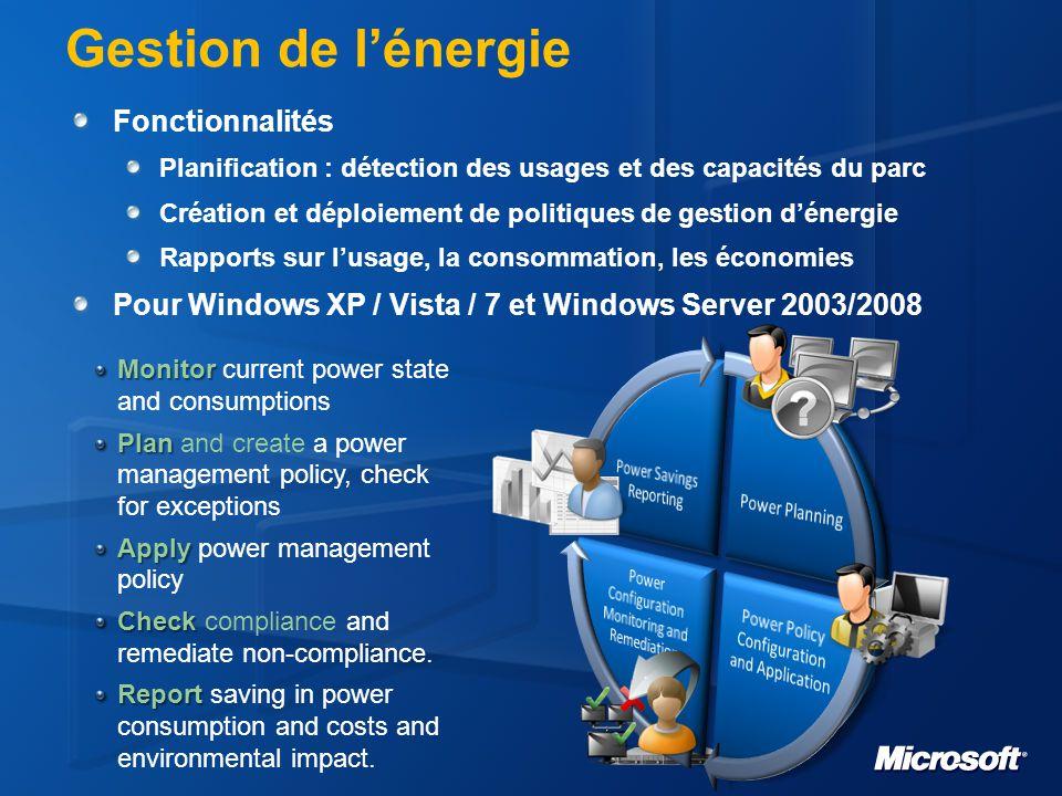 Gestion de l'énergie Fonctionnalités