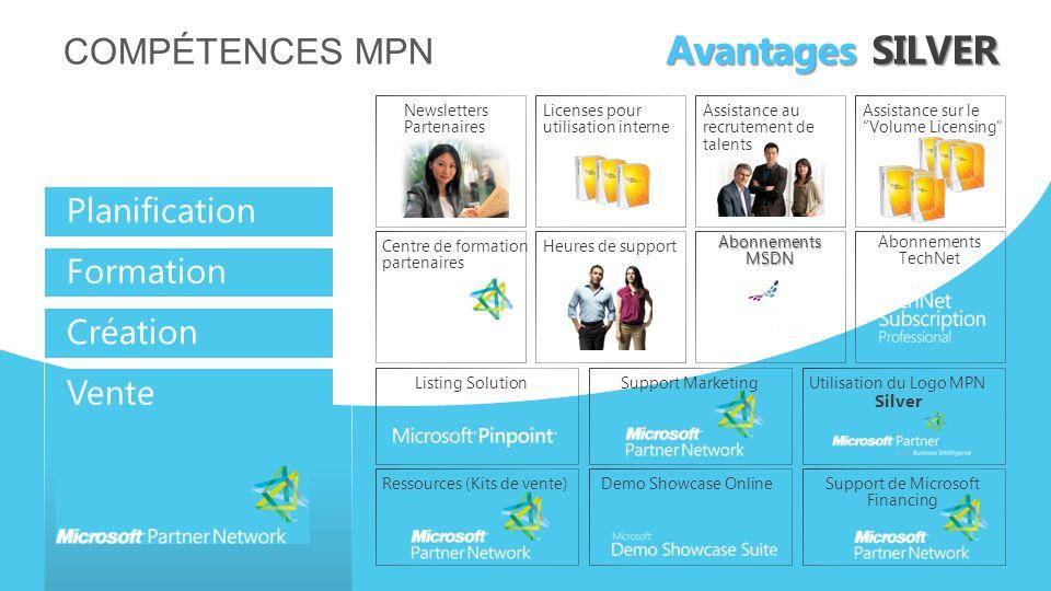Avantages SILVER Compétences MPN Planification Formation Création
