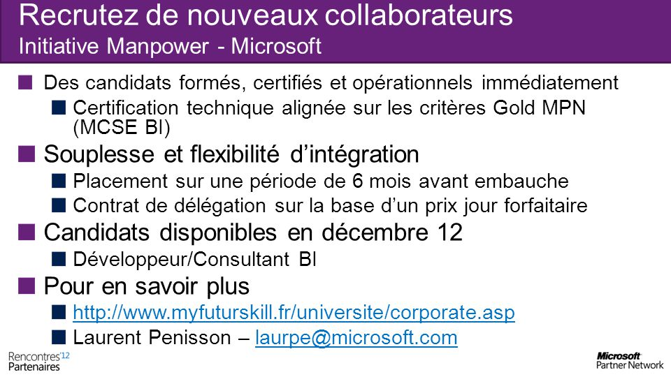 Recrutez de nouveaux collaborateurs Initiative Manpower - Microsoft