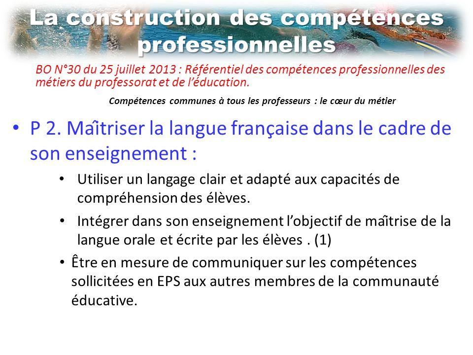 La construction des compétences professionnelles