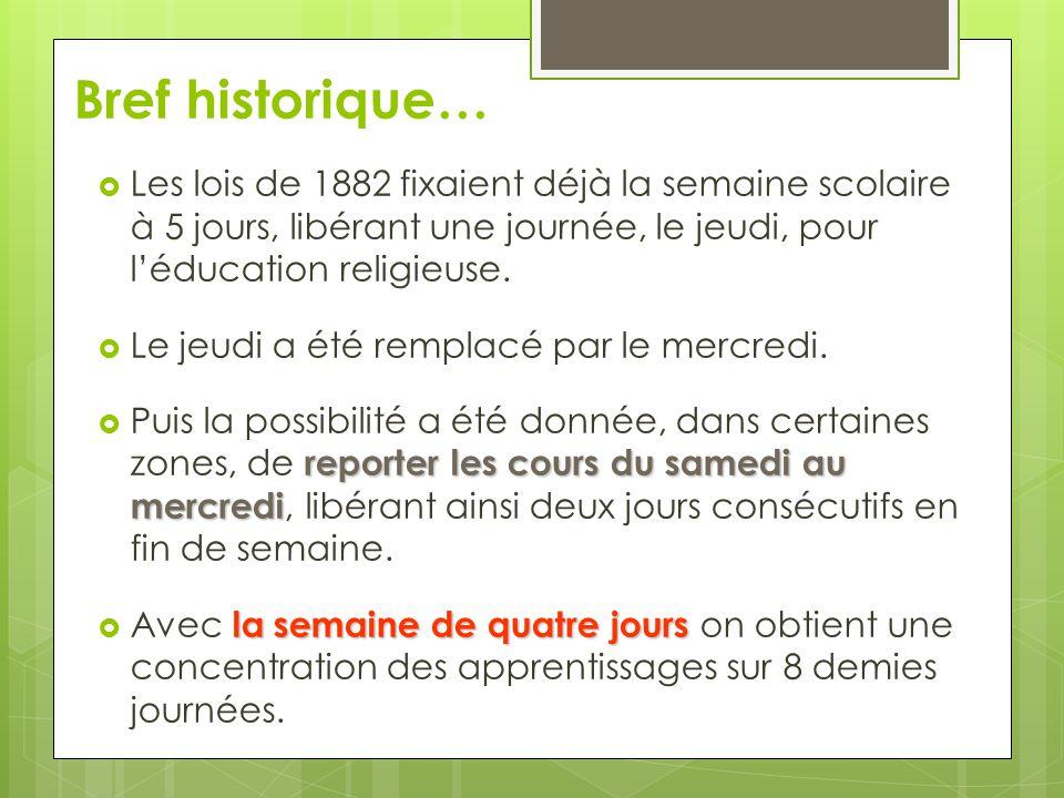 Bref historique… Les lois de 1882 fixaient déjà la semaine scolaire à 5 jours, libérant une journée, le jeudi, pour l'éducation religieuse.