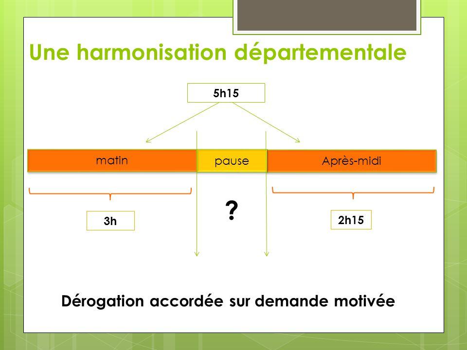 Une harmonisation départementale