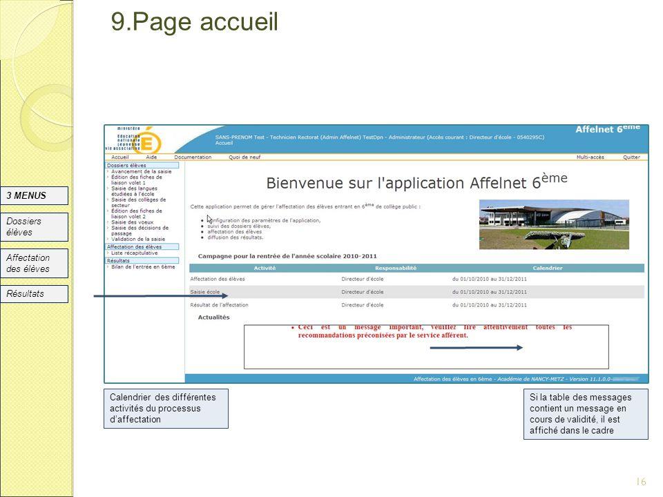 9.Page accueil 16 DSI Nancy 3 MENUS Dossiers élèves