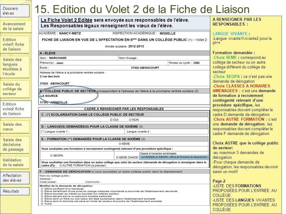 15. Edition du Volet 2 de la Fiche de Liaison