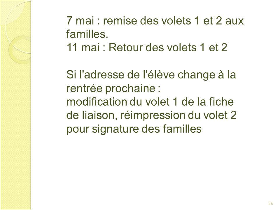7 mai : remise des volets 1 et 2 aux familles