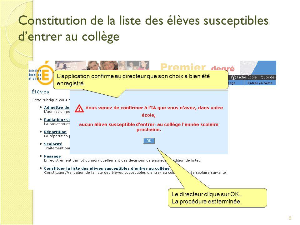 Constitution de la liste des élèves susceptibles d'entrer au collège