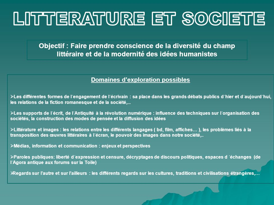 LITTERATURE ET SOCIETE Domaines d'exploration possibles