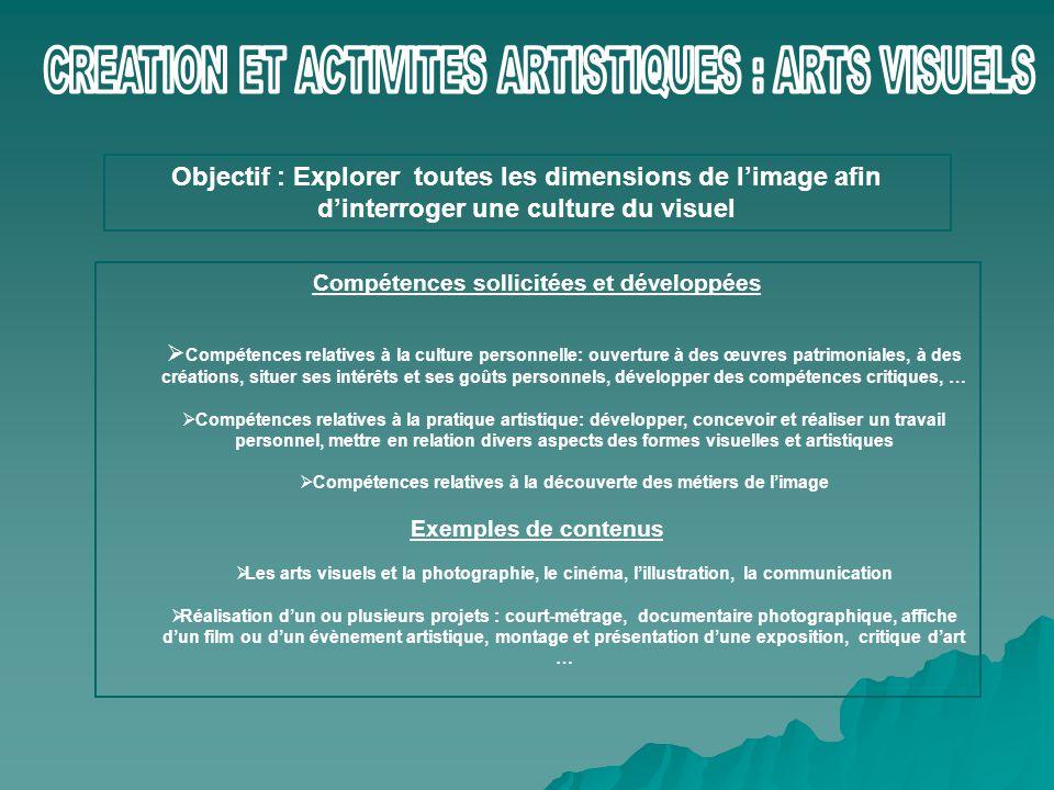 CREATION ET ACTIVITES ARTISTIQUES : ARTS VISUELS