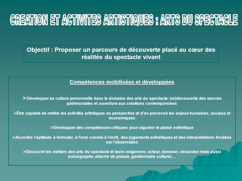 CREATION ET ACTIVITES ARTISTIQUES : ARTS DU SPECTACLE
