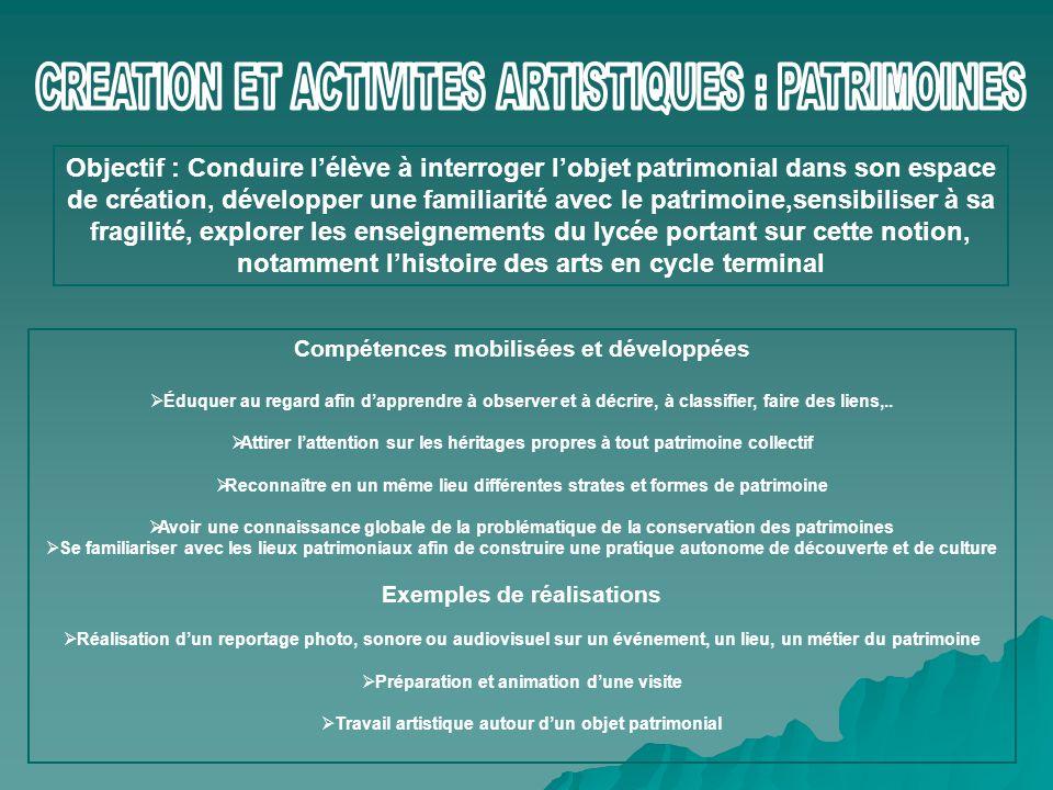 CREATION ET ACTIVITES ARTISTIQUES : PATRIMOINES