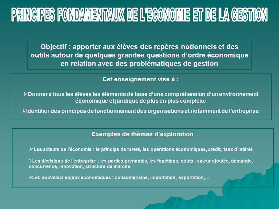 PRINCIPES FONDAMENTAUX DE L ECONOMIE ET DE LA GESTION