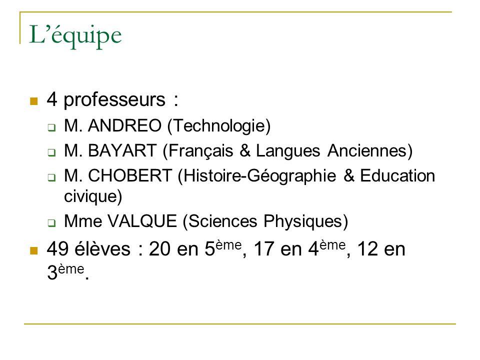 L'équipe 4 professeurs :
