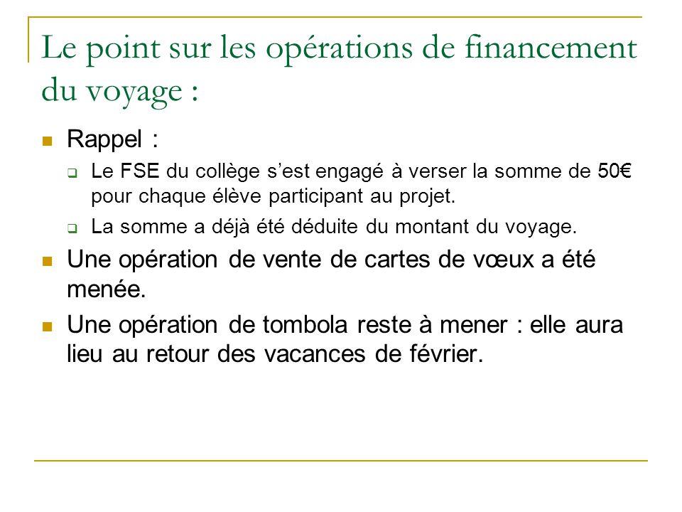 Le point sur les opérations de financement du voyage :