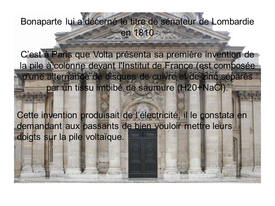 Bonaparte lui a décerné le titre de sénateur de Lombardie en 1810