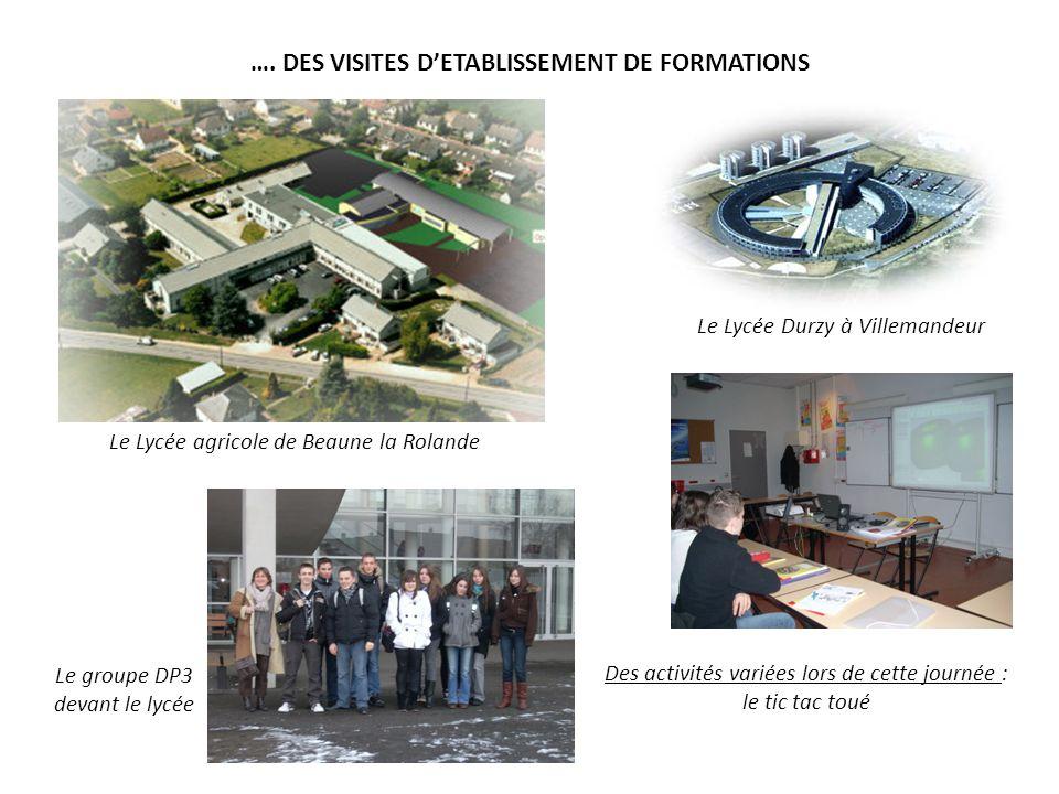 …. DES VISITES D'ETABLISSEMENT DE FORMATIONS
