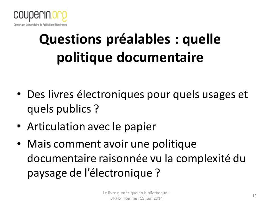 Questions préalables : quelle politique documentaire