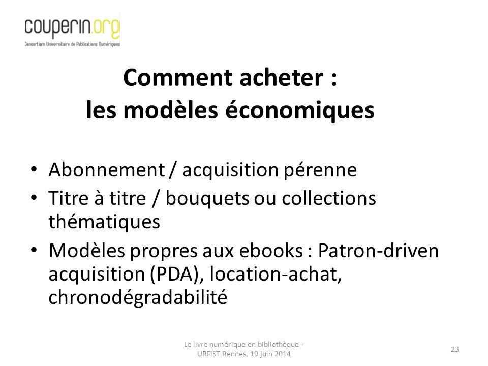 Comment acheter : les modèles économiques