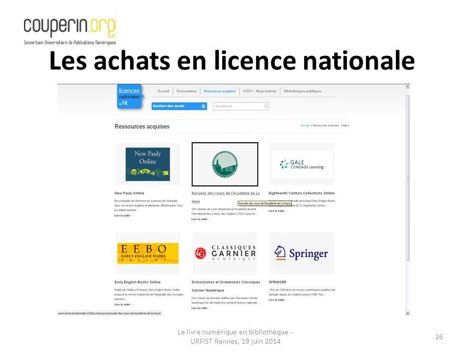 Les achats en licence nationale