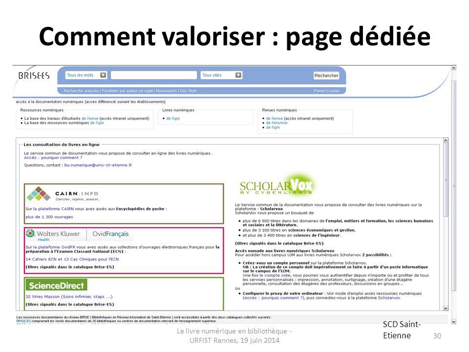 Comment valoriser : page dédiée