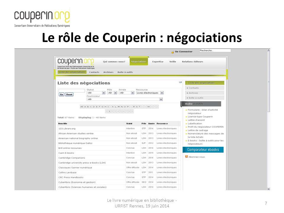 Le rôle de Couperin : négociations
