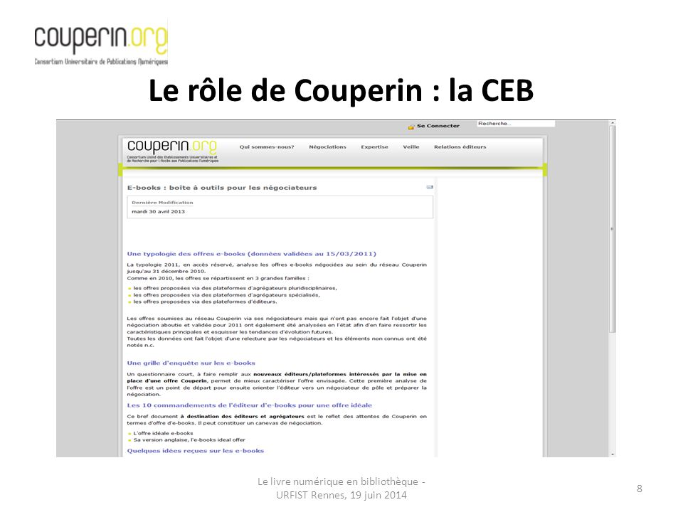 Le rôle de Couperin : la CEB