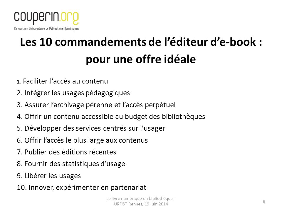 Les 10 commandements de l'éditeur d'e-book :